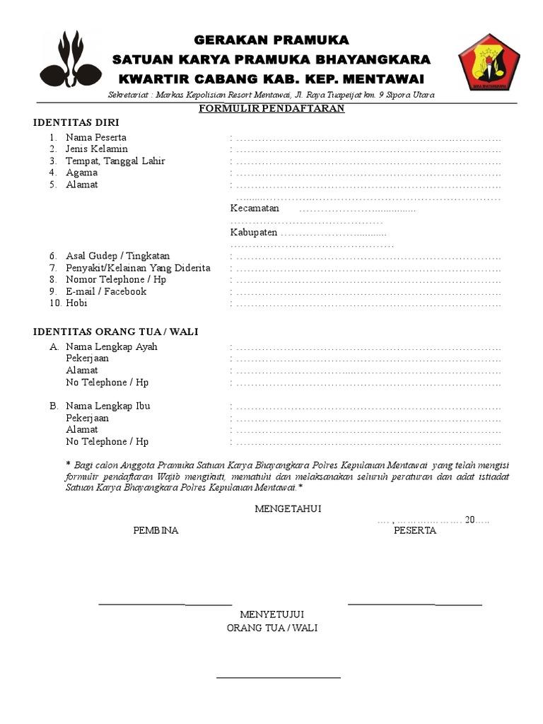 Formulir Pendaftaran Saka Bhayangkara 1