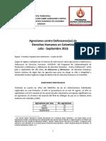 Boletin Julio - Septiembre Somos Defensores - SIADDHH 2016