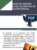El Proceso de Atención Psicológica en Los Servicios de Educacion Especial