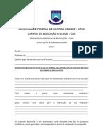Questionário de Pesquisa de Avaliação e Apredizagem Para Os Professores