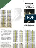 Calendario Lectura Bíblica M'Cheyne (tamaño Carta)