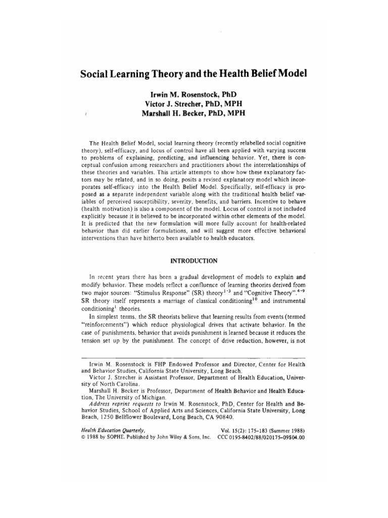 Rosenstock Strecher Becker 1988 Social Learing Theory And