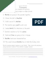 Second Grade Pronoun Worksheet Sentences