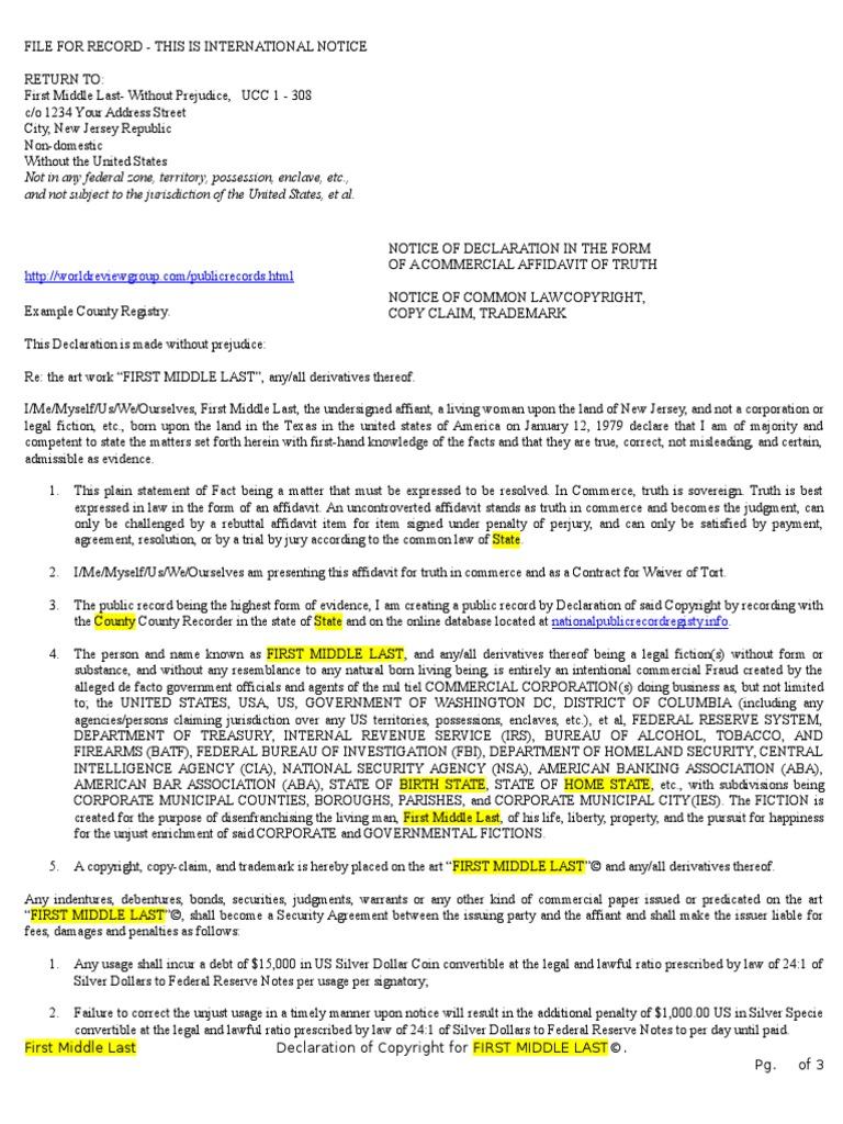 Copyright Affidavit Template | Affidavit | Common Law
