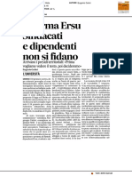 Riforma Ersu, sindacati e dipendenti non si fidano - Il Corriere Adriatico del 12 gennaio 2017