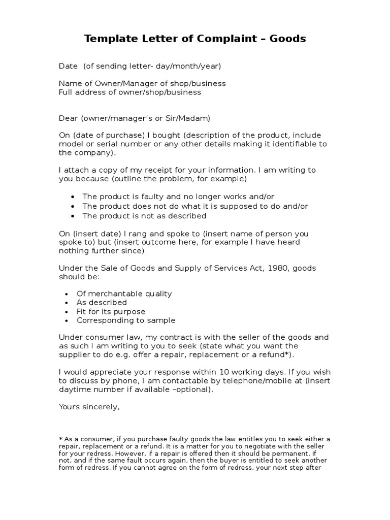 Letter of complaint template goods spiritdancerdesigns Image collections