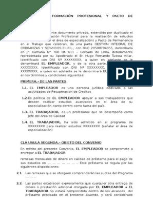 Convenio De Formación Profesional Y Pacto De Permanencia