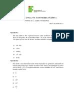 Questões de Geometria Analítica