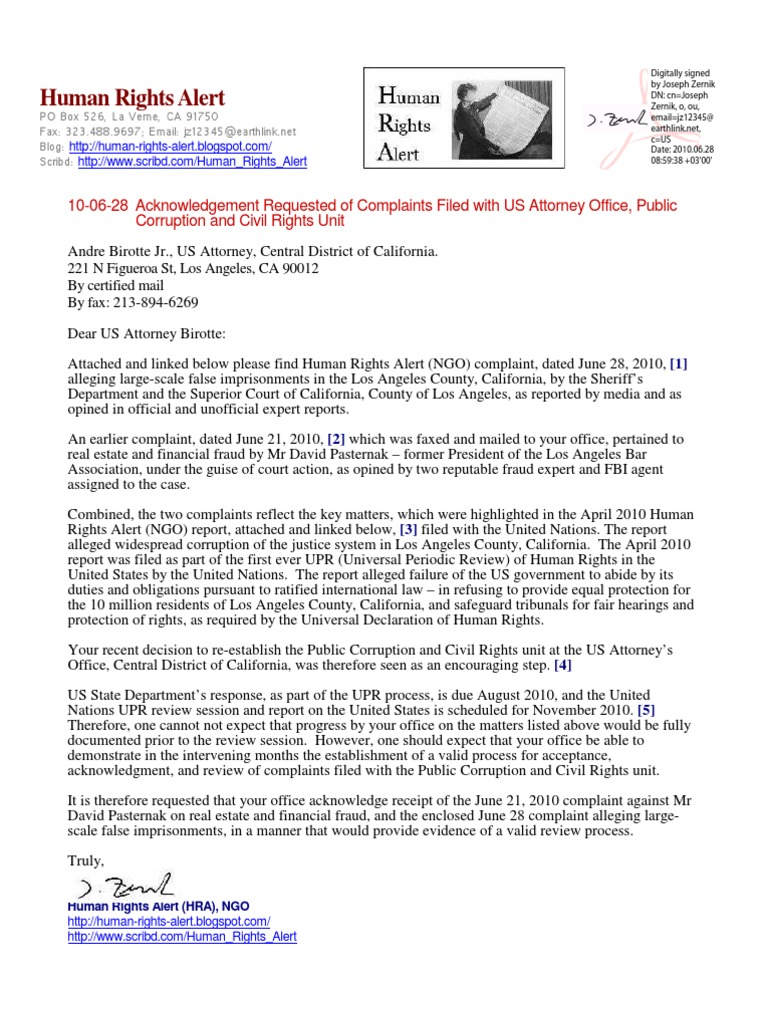 10-06-28 Human Rights Alert Request for Acknowledgment of