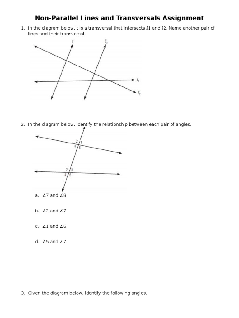 NonParallel Lines and Transversals Worksheet – Parallel Lines and Transversals Worksheet