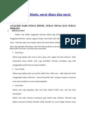 Analisis Surat Bisnis Pribadi Dinas