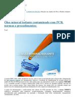 Óleo Mineral Isolante Contaminado Com PCB, Normas e Procedimentos_ - LORENCINI BRASIL