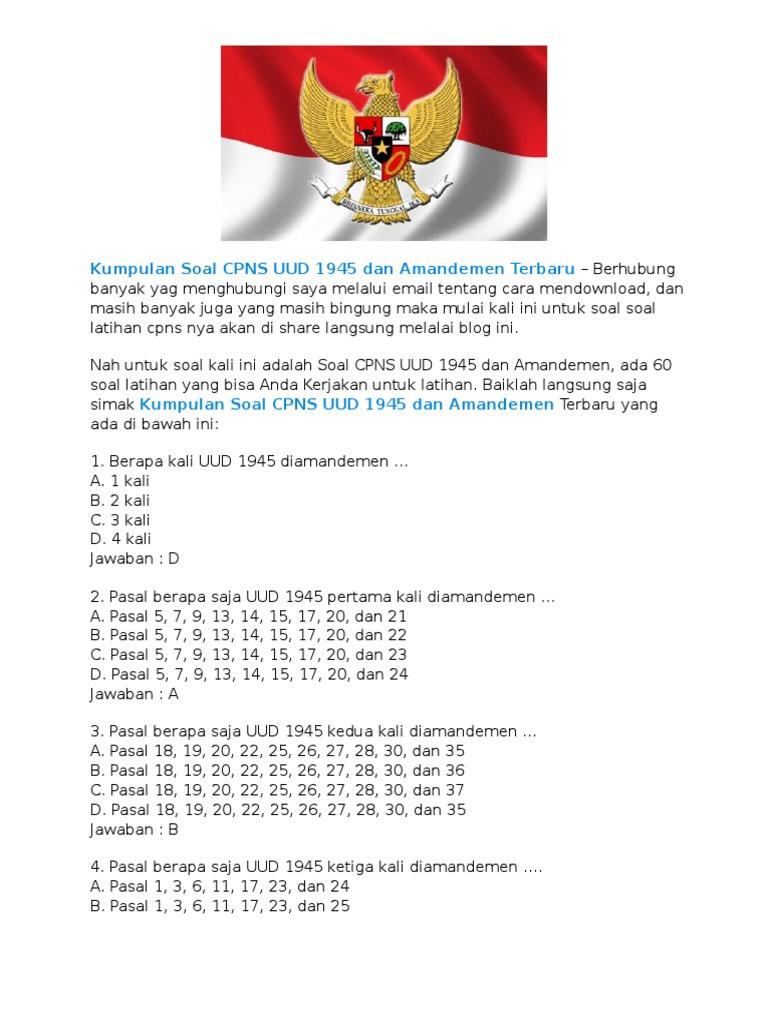 Kumpulan Soal Cpns Uud 1945 Dan Amandemen Terbaru
