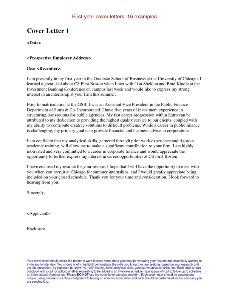 Internship Cover Letters Examples | Master Of Business Administration |  Internship