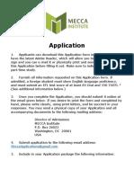 MECCA Institute Application 2017/2018