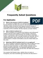 MECCA Institute FAQs 2017/2018
