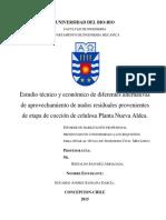 Estudio Técnico y Económico de Diferentes Alternativas de Aprovechamiento de Nudos Residuales Provenientes de Etapa de Cocción de Celulosa Planta Nueva Aldea