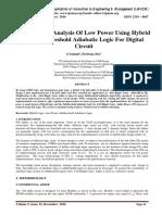 Performance Analysis Of Low Power Using Hybrid And Subthreshold Adiabatic Logic For Digital Circuit