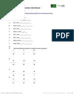 Year 8 Fractions Worksheet