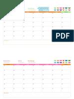 Calendário Mensal Para Qualquer Ano (12 Páginas, Design Ursos Do Arco-Íris)1