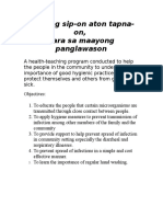 Objectives- UBO Kag Sipon- Health Teaching Carimayor