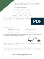 Ficha Nº8 Unidades de Medida, Perímetro, Área e Volume