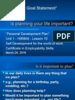 Personal Development Plan u 1 l 10