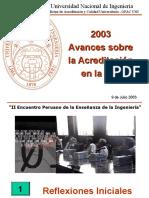 2003 Inicios de la Acreditacion en la UNI-Lima, Peru