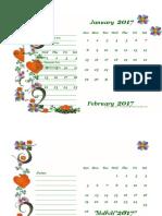 2017 Monthly Calendar Template Design 02