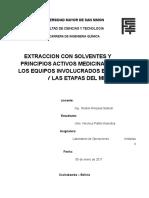 Desarrollo Del Proceso de Extraccion Con Solventes de Principios Activos