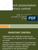 PowerPoint Presentation on Inventory Control