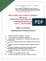 MBA Finance Project Topics
