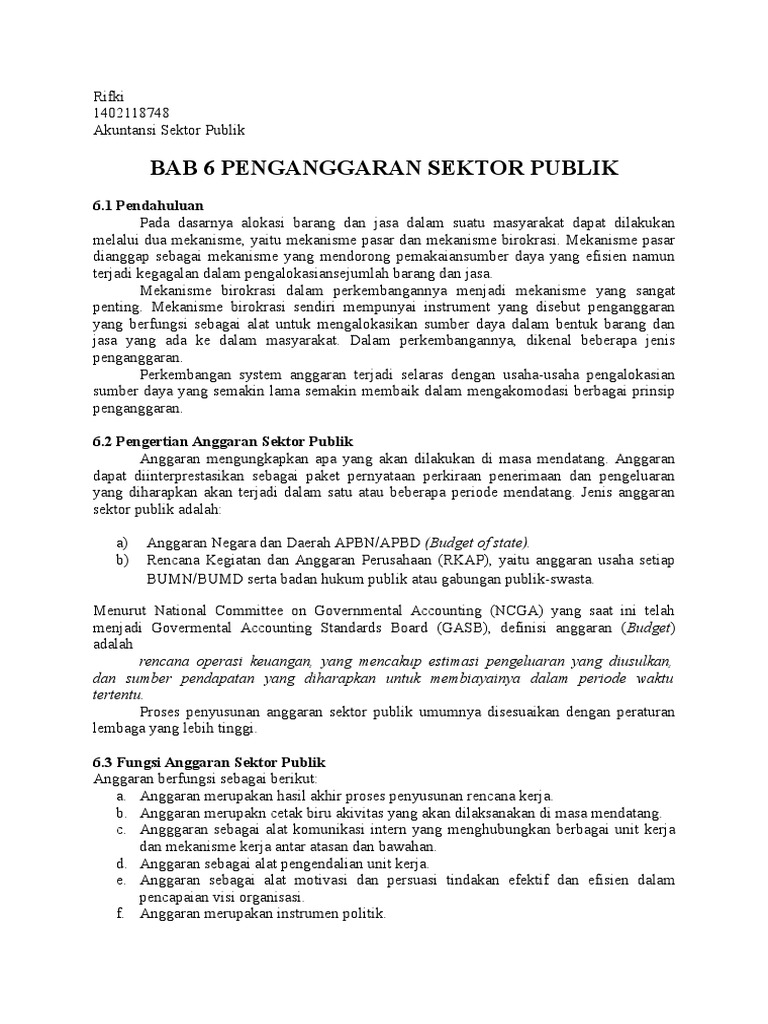 Bab 6 Penganggaran Sektor Publik