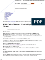 PMI Code of Ethics for PMP Exam QUestions