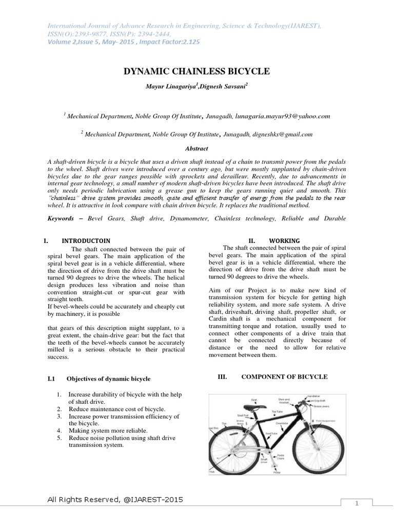 Dynamic Chainless Bicycle Transmission Mechanics Gear