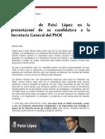 Intervención Patxi López Presentación Candidatura