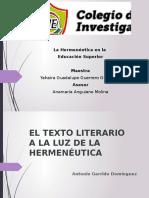 RESUMEN Texto Literario a La Luz de La Hermeneutica