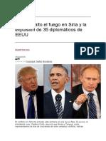 Rusia El Alto El Fuego en Siria y La Expulsión de 35 Diplomáticos de EEUU