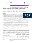 Knowledge and Disclosure of Hiv Status Among Adolescents Accra Ghana