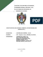 CONSTITUCIÓN DE UNA SOCIEDAD COMERCIAL DE RESPONSABILIDAD LIMITADA