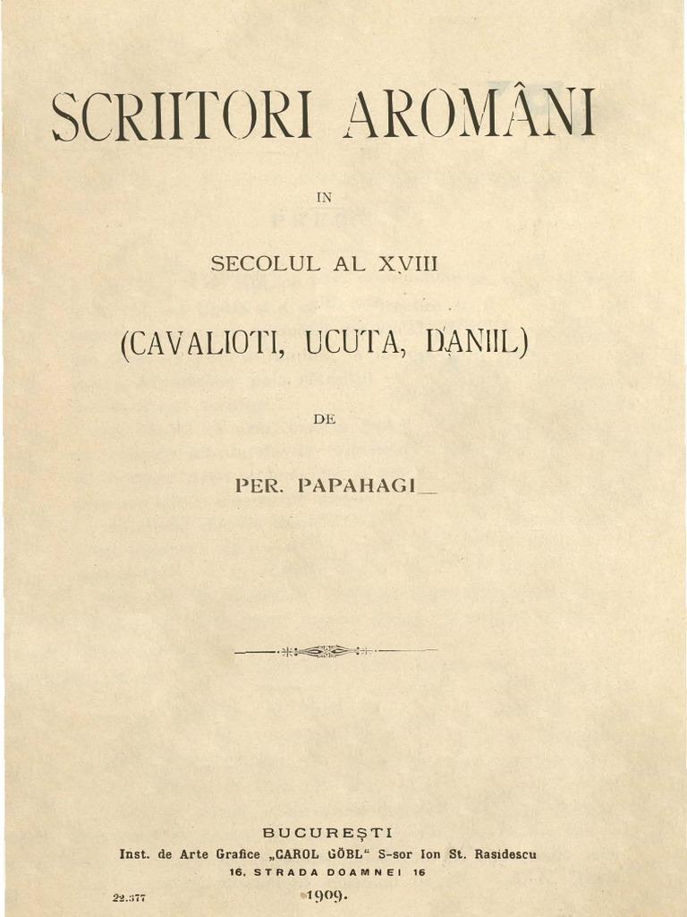 Avato Handwerk 79748215 pericle papahagi scriitori aromani in secolul al xviii lea