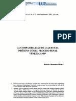 Compatibilidad de La Justicia Indigena Con El Proceso Penal Venezolano