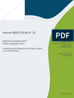 Informe MERCOSUR N 20 2014 2015 Segundo Semestre 2014 Primer Semestre 2015