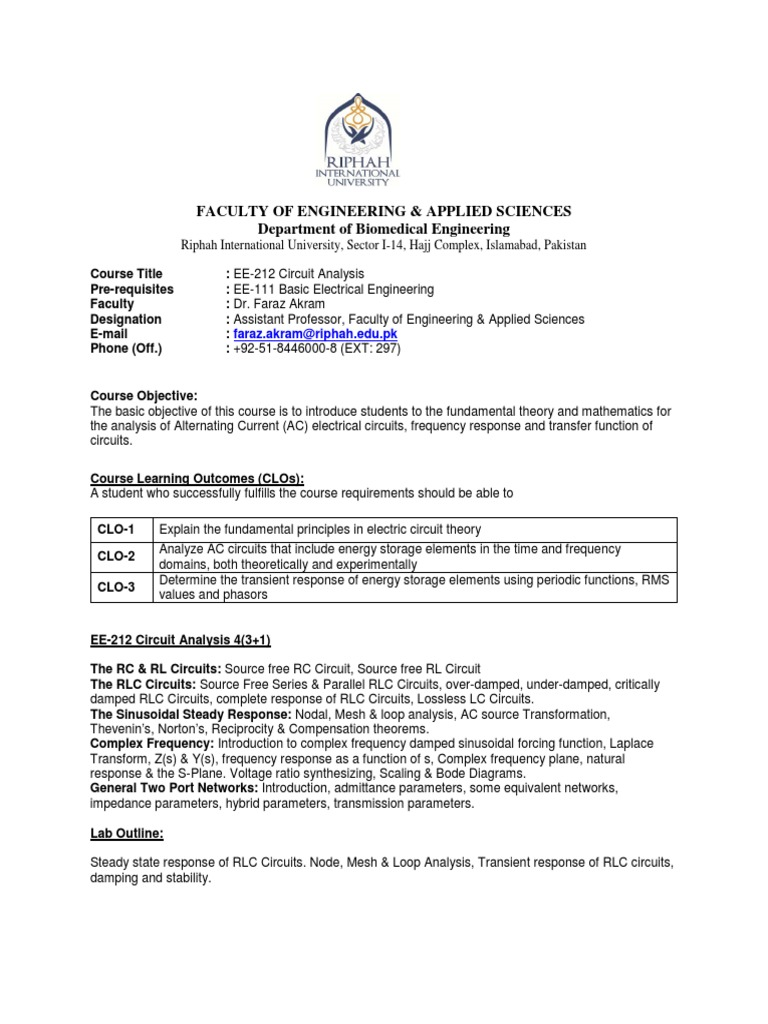 EE-212 Circuit Analysis   Electrical Network   Network Analysis ...