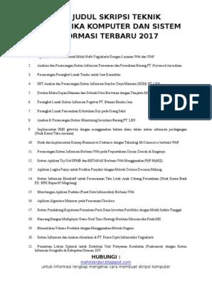 1000 Judul Skripsi Teknik Informatika Komputer Dan Sistem Informasi Terbaru 2017