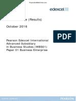 October 2016 (IAL) MS - Unit 1 Edexcel Business Studies
