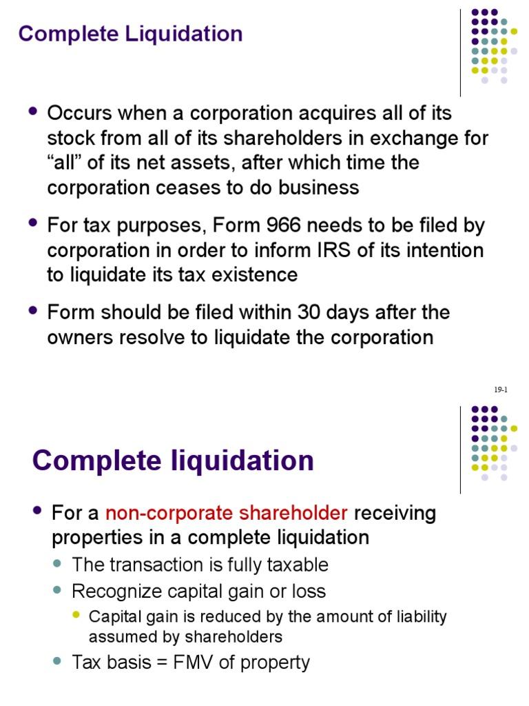 Irs liquidating corporation