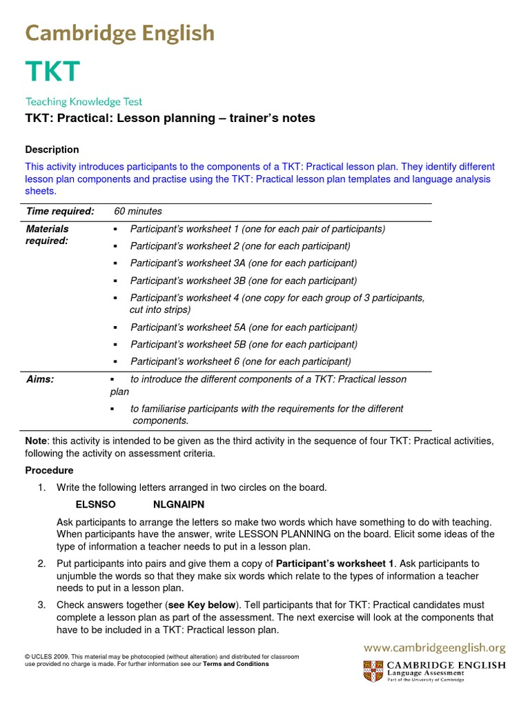 168908 Tkt Practical Lesson Planning 1 Lesson Plan Human