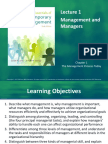 Lecture 1 Management and Managers