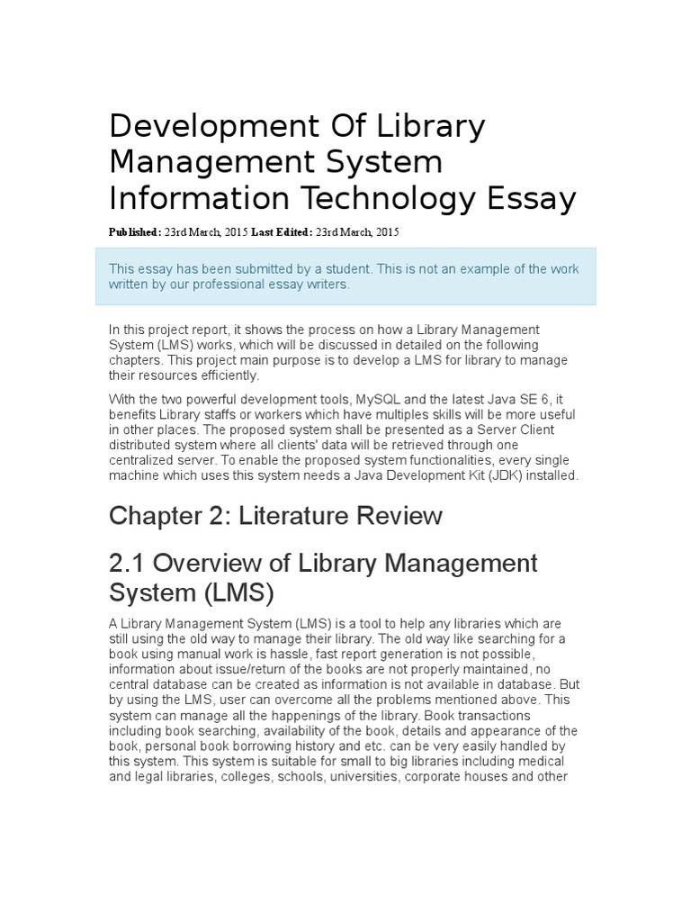 essay on library management system